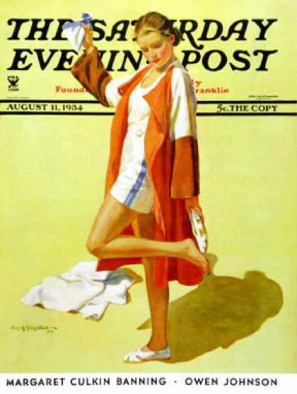 Saturday Evening Post - 1934-08-11: Woman in Beach Outfit (Charles A. MacLellan)