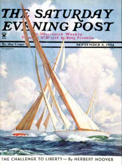Saturday Evening Post - 1934-09-08: Sailboat Regatta (Anton Otto Fischer)