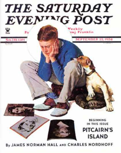 "Saturday Evening Post - 1934-09-22: ""Boy Gazing at Cover Girls"" (Norman Rockwell)"