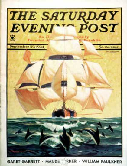 Saturday Evening Post - 1934-09-29: Dolphins and Ship (Gordon Grant)