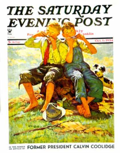 Saturday Evening Post - 1934-10-06: Harmonica Players (Eugene Iverd)