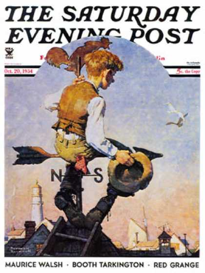 "Saturday Evening Post - 1934-10-20: ""On Top of the World"" (Norman Rockwell)"