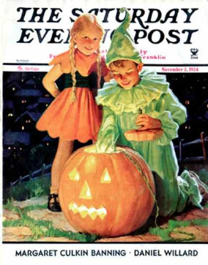 Saturday Evening Post - 1934-11-03: Lighting the Pumpkin (Eugene Iverd)