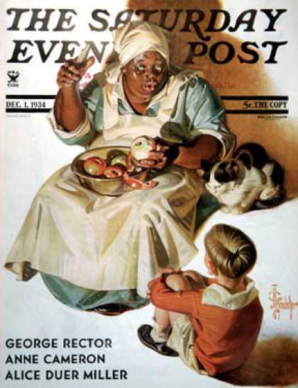 Saturday Evening Post - 1934-12-01: Cooking up a Story (J.C. Leyendecker)