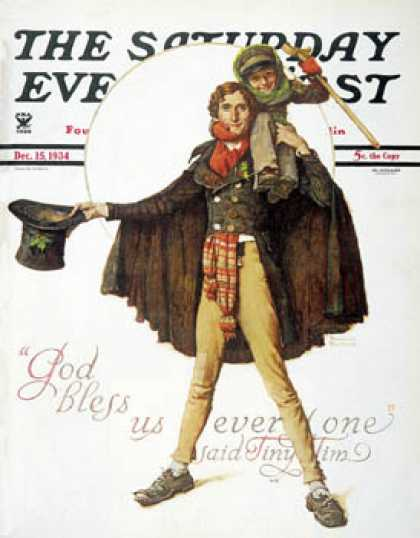 "Saturday Evening Post - 1934-12-15: ""Tiny Tim"" or ""God Bless Us   Everyone"" (Norman Rockwell)"