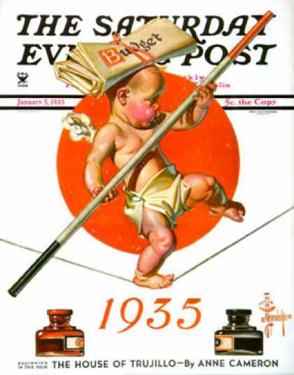 Saturday Evening Post - 1935-01-05: Baby New Year Balances the Budget (J.C. Leyendecker)