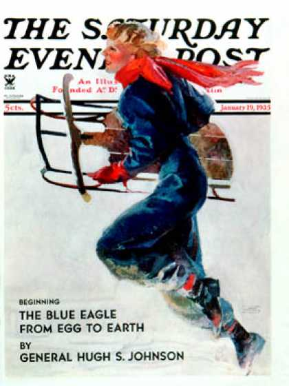 Saturday Evening Post - 1935-01-19: Woman Sledder (John LaGatta)