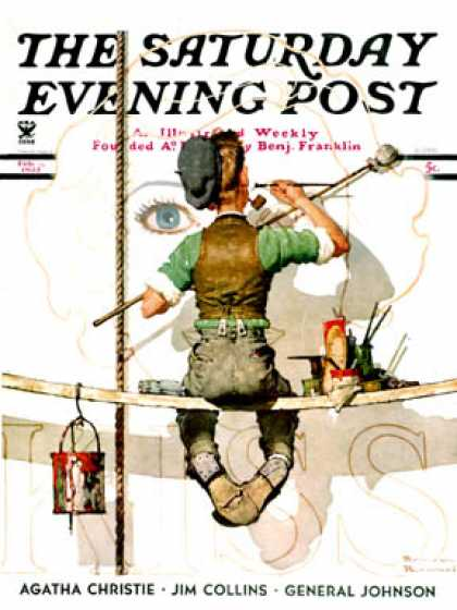 "Saturday Evening Post - 1935-02-09: ""Signpainter"" (Norman Rockwell)"