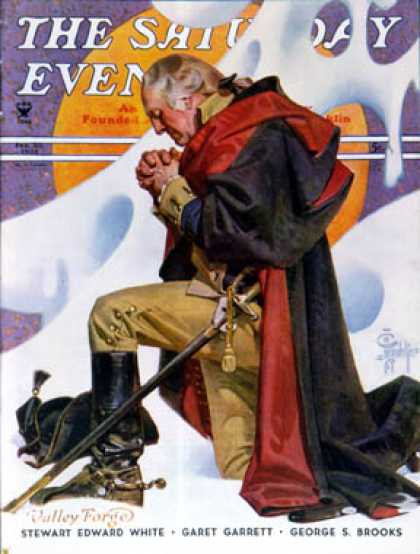 Saturday Evening Post - 1935-02-23: George Washington at Valley Forge (J.C. Leyendecker)