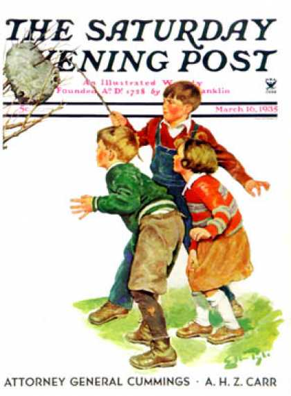Saturday Evening Post - 1935-03-16: Children and Hornets Nest (Ellen Pyle)