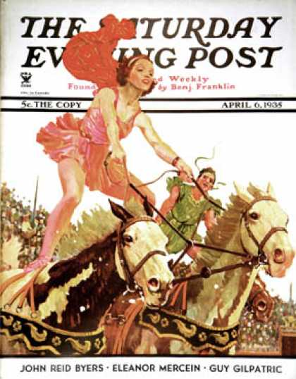 Saturday Evening Post - 1935-04-06: Circus Bareback Riders (Maurice Bower)