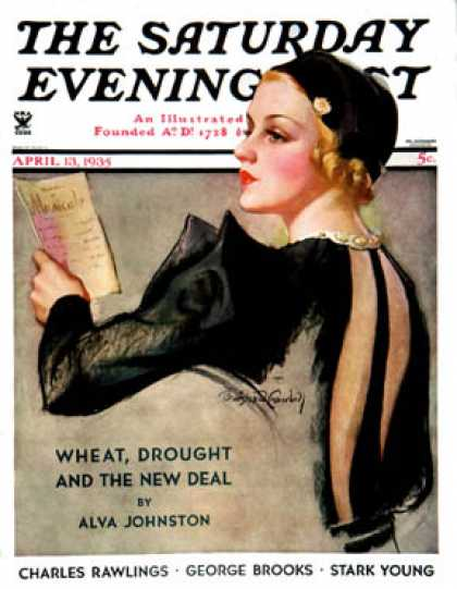 Saturday Evening Post - 1935-04-13: Woman at the Theater (Bradshaw Crandall)