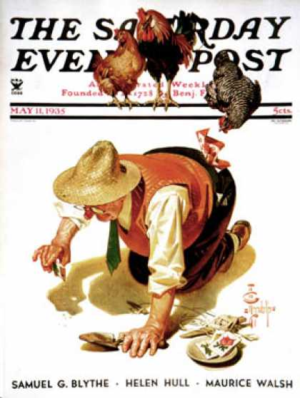 Saturday Evening Post - 1935-05-11: Hens and Gardner (J.C. Leyendecker)