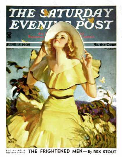 Saturday Evening Post - 1935-06-15: Woman in Yellow (Andrew Loomis)