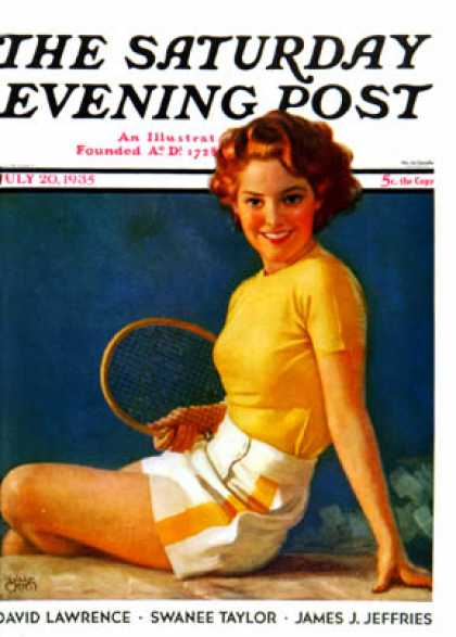 Saturday Evening Post - 1935-07-20: Tennis Time-Out (Walt Otto)