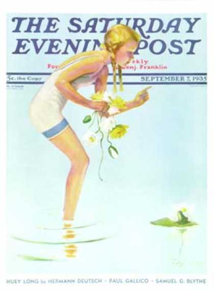 Saturday Evening Post - 1935-09-07: Girl and Water Lilies (Penrhyn Stanlaws)
