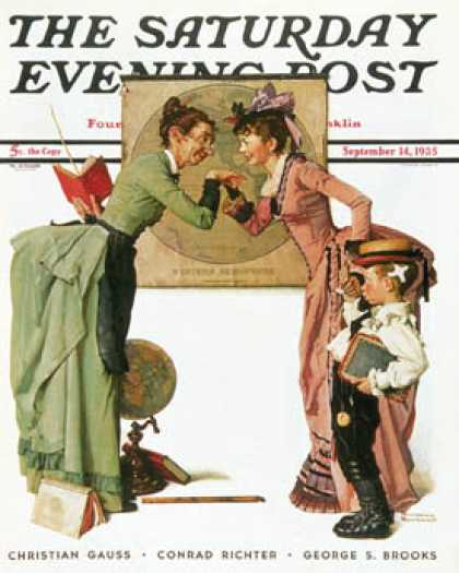 "Saturday Evening Post - 1935-09-14: ""First Day of School"" or   ""Back to School"" (Norman Rockwell)"