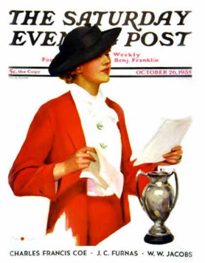 Saturday Evening Post - 1935-10-26: Woman Reading Letter (Penrhyn Stanlaws)