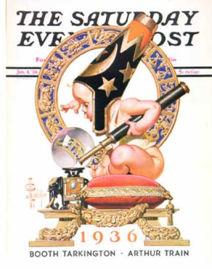 Saturday Evening Post - 1936-01-04: Baby New Year and Crystal Ball (J.C. Leyendecker)