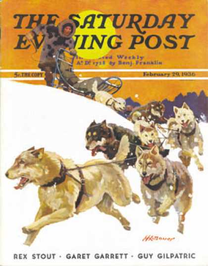 Saturday Evening Post - 1936-02-29: Eskimo and Dog Sled (Maurice Bower)