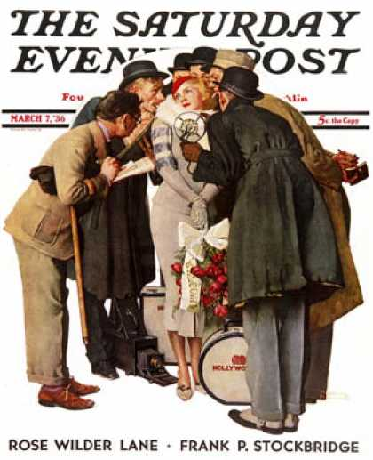 "Saturday Evening Post - 1936-03-07: ""Hollywood Starlet"" (Norman Rockwell)"
