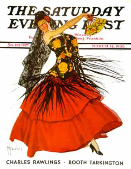 Saturday Evening Post - 1936-03-14: Flamenco Dancer in Red (R.J. Cavaliere)