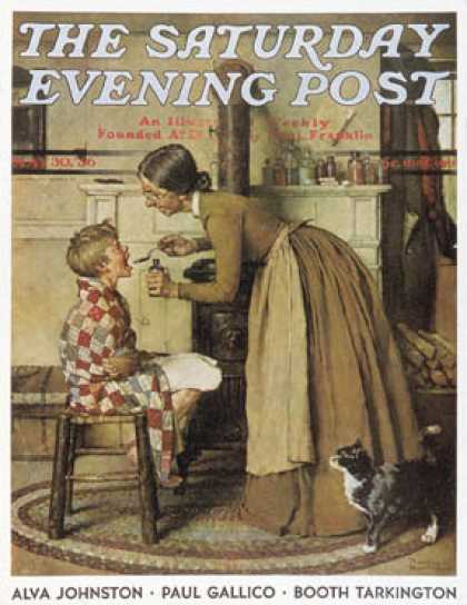 "Saturday Evening Post - 1936-05-30: ""Medicine Giver"" ""Take Your   Medicine"" (Norman Rockwell)"