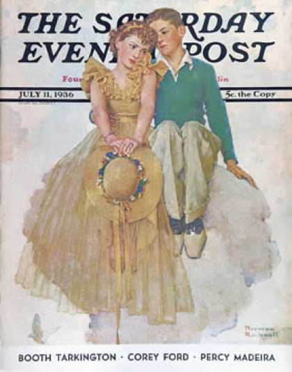"Saturday Evening Post - 1936-07-11: ""On Top of the World"" (Norman Rockwell)"