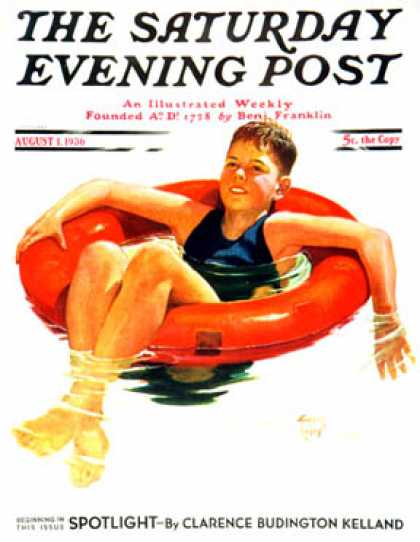 Saturday Evening Post - 1936-08-01: Boy in Inner Tube (Eugene Iverd)