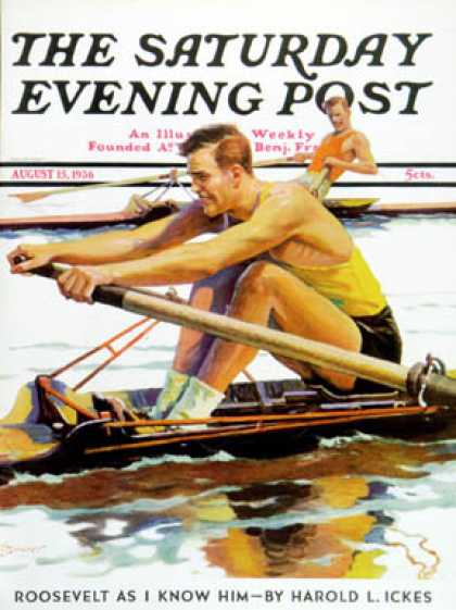 Saturday Evening Post - 1936-08-15: Sculling Race (Maurice Bower)