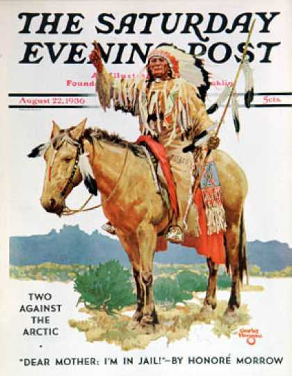 Saturday Evening Post - 1936-08-22: Indian Chief on Horseback (Charles Hargens)