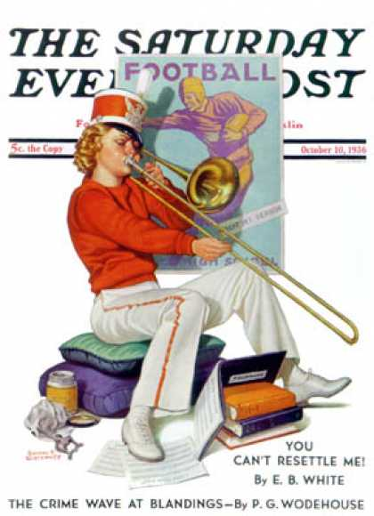 Saturday Evening Post - 1936-10-10: Practicing the Trombone (Revere F. Wistehoff)