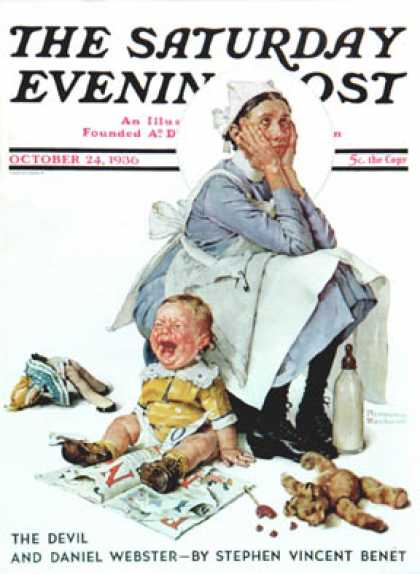 "Saturday Evening Post - 1936-10-24: ""Exasperated Nanny"" (Norman Rockwell)"