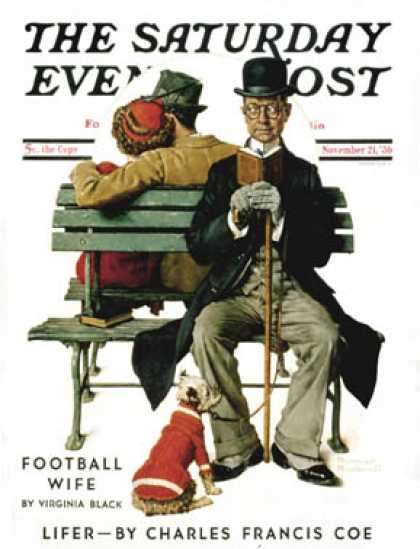 "Saturday Evening Post - 1936-11-21: ""Overheard Lovers"" (man on park   bench) (Norman Rockwell)"