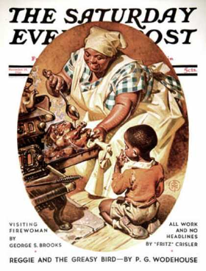 Saturday Evening Post - 1936-11-28: Basting the Turkey (J.C. Leyendecker)