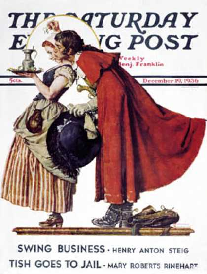 "Saturday Evening Post - 1936-12-19: ""Feast for a Traveler"" (Norman Rockwell)"