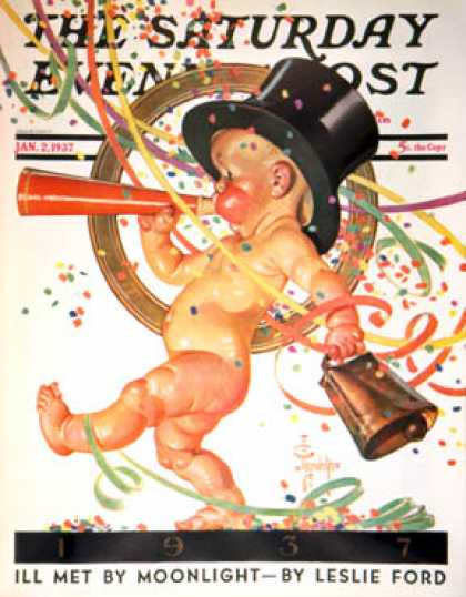 Saturday Evening Post - 1937-01-02: Baby New Year Celebrates (J.C. Leyendecker)