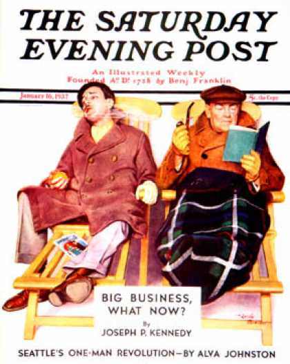 Saturday Evening Post - 1937-01-16: Two Men in Deck Chairs (Leslie Thrasher)