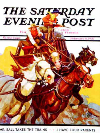 Saturday Evening Post - 1937-02-06: Speeding Stagecoach (Maurice Bower)