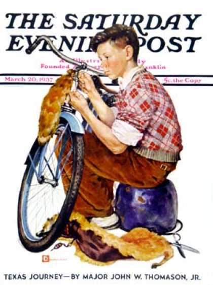 Saturday Evening Post - 1937-03-20: Decorating His Bike (Douglas Crockwell)