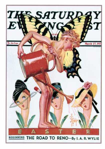 Saturday Evening Post - 1937-03-27: Easter Fairy (J.C. Leyendecker)