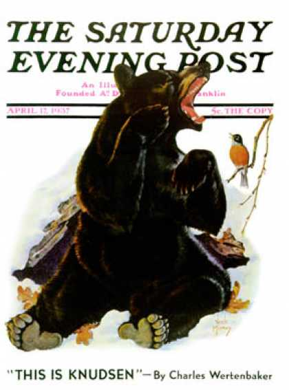 Saturday Evening Post - 1937-04-17: End of Hibernation (Jack Murray)