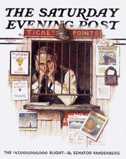 "Saturday Evening Post - 1937-04-24: ""Ticket Agent"" (Norman Rockwell)"