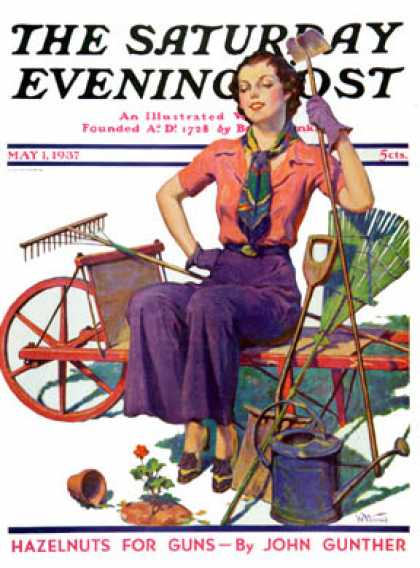 Saturday Evening Post - 1937-05-01: Geranium Gardener (W.D. Stevens)