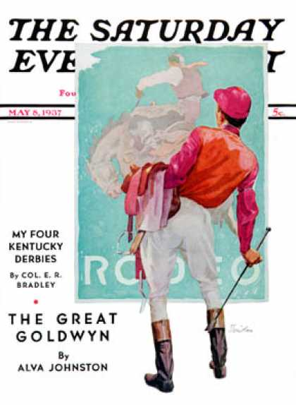 Saturday Evening Post - 1937-05-08: Jockey Looks at Poster (John E. Sheridan)