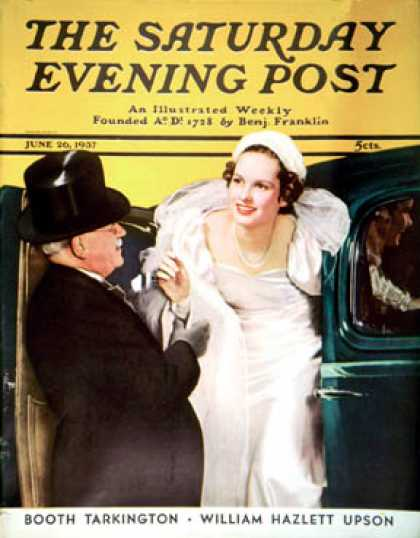 Saturday Evening Post - 1937-06-26: Arriving at the Church (Ruzzie Green)