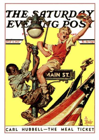 Saturday Evening Post - 1937-07-03: Parade View from Lamp Post (J.C. Leyendecker)