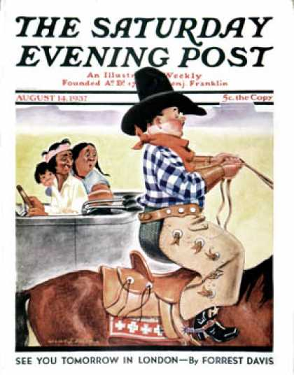 Saturday Evening Post - 1937-08-14: Modern Indians and Dude (William J. Bailey)