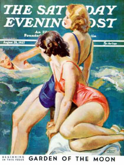 Saturday Evening Post - 1937-08-28: At the Pool (John LaGatta)