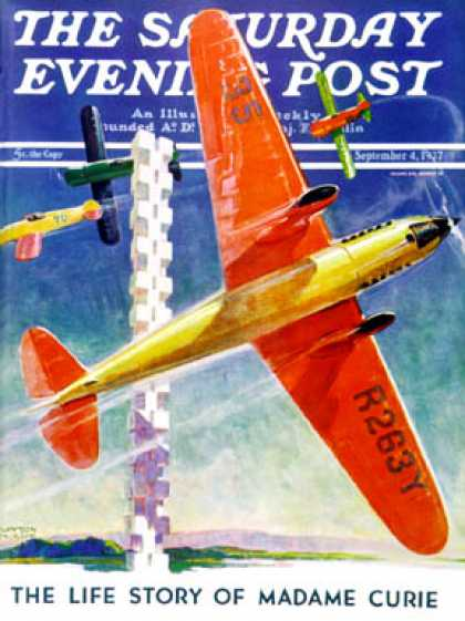 Saturday Evening Post - 1937-09-04: Airshow (Clayton Knight)
